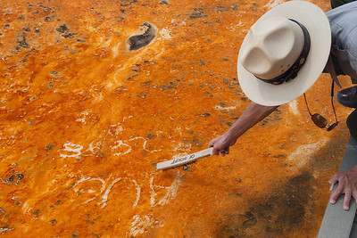 The ranger removes graffiti from the microbial layer.