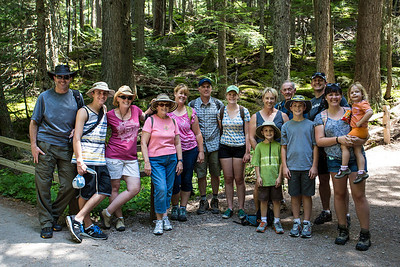 all 14 of us getting ready to hike to Avalanche Lake.