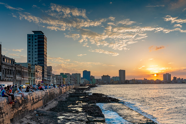 Sunset at the Malecon in Havana.