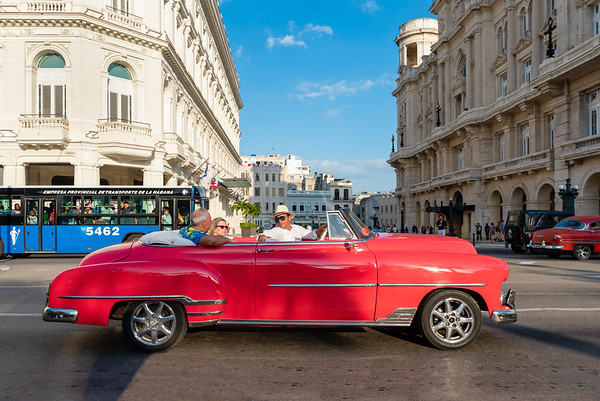 Classic American Car Taxi in the streets of Havana.