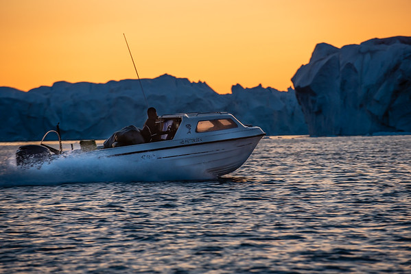 Boat on the Icefjord, Ilulissat, Greenland.