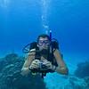 Man scuba diving in Cozumel, Mexico