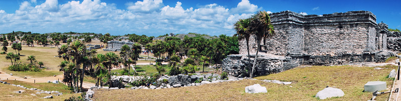 Panoramic view of Tulum ruins, Mexico