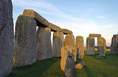 Inside of Stonehenge at sunset. This photo was processed HDR.