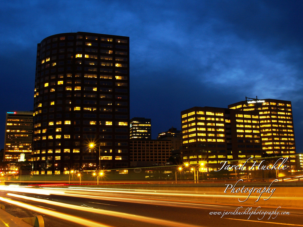 Office buildings and Founders Bridge in foreground, Hartford, CT