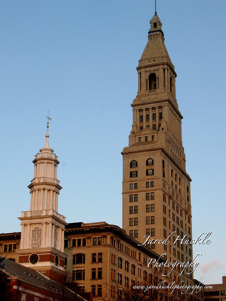 Travelers Tower and church spire, Hartford CT