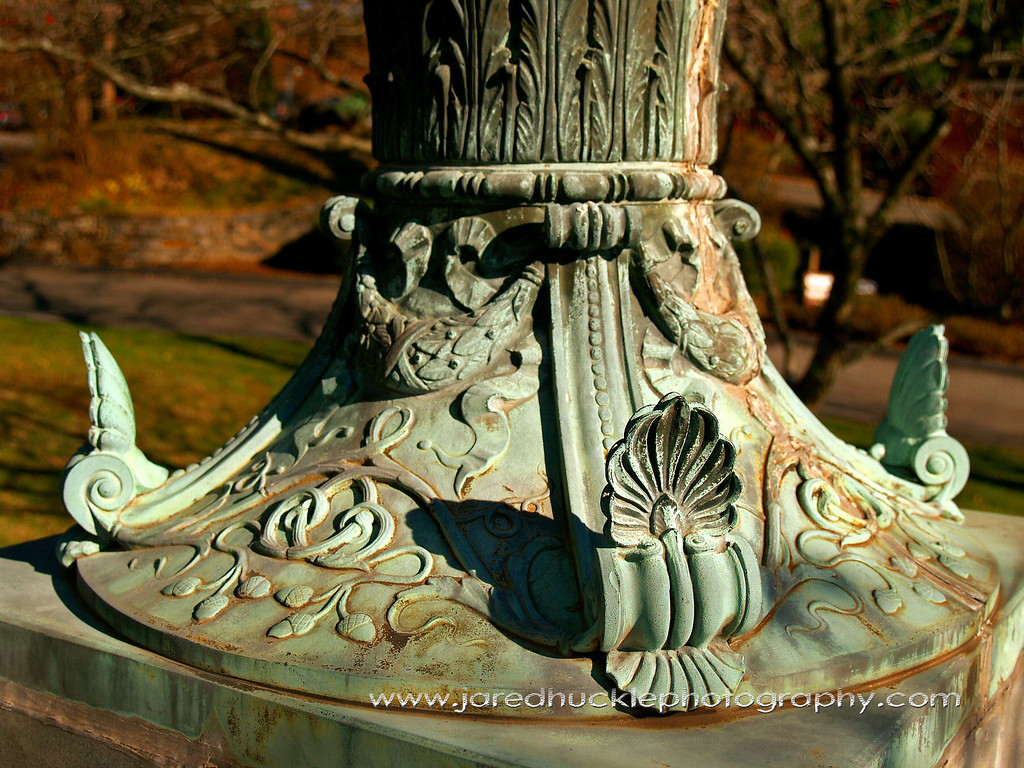 Base of flag pole at library in Rockville, CT