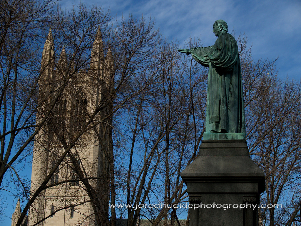 Trinity College Chapel and statue