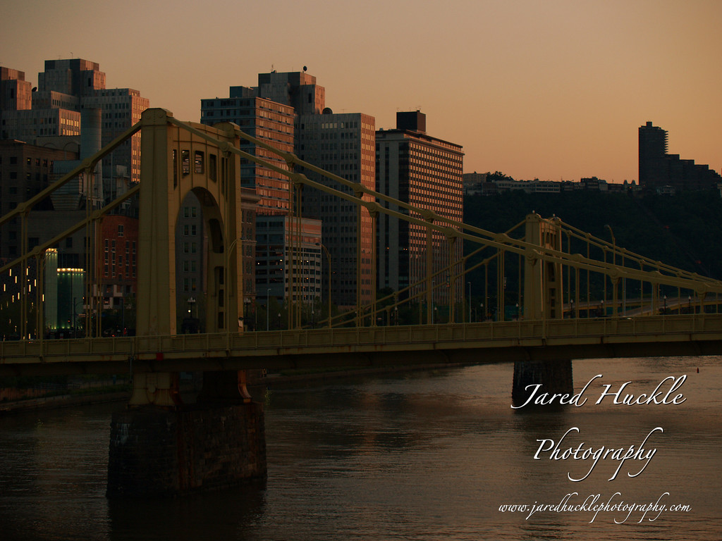 Allegheny River bridges at sunset, Pittsburgh PA