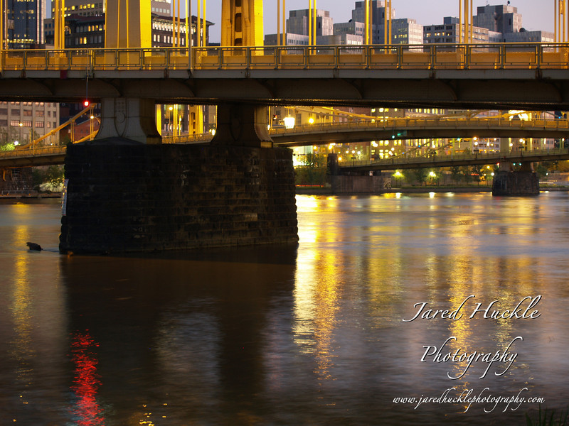 The Three Sisters Bridges (6th, 7th and 9th Street) over the Allegheny River, Pittsburgh, Pennsylvania