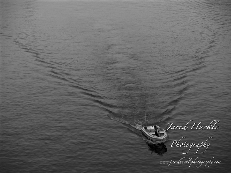 Pleasure boat on Ohio River under the West End Bridge, Pittsburgh PA