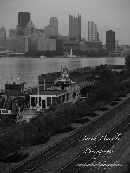 Tracks, barges and downtown Pittsburgh