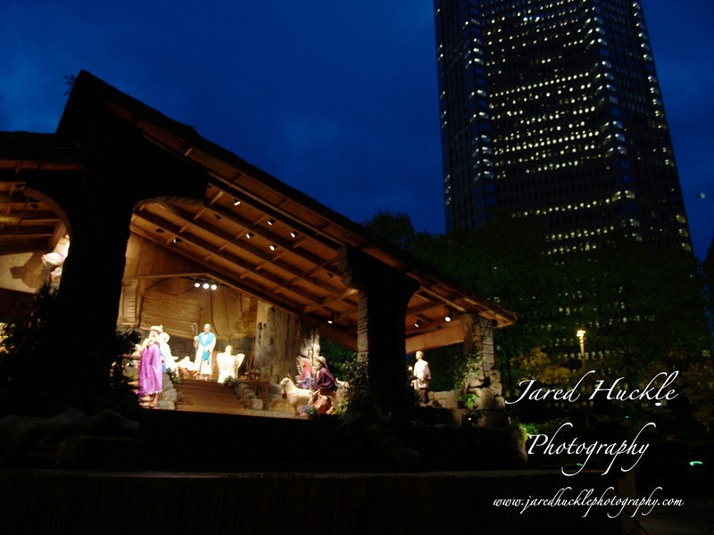 Life size creche in USX Plaza, Light Up Night, Pittsburgh PA
