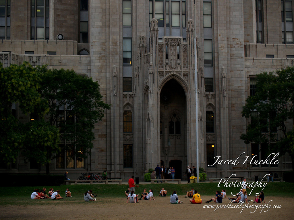 Rugby practice next to the Cathedral of Learning, Pittsburgh PA