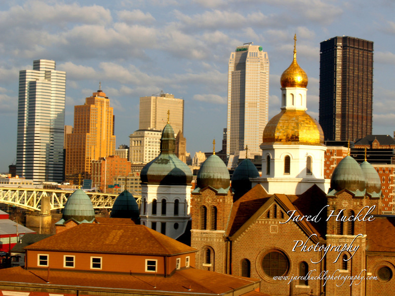 St John the Baptist Ukrainian Church with Downton behind, Pittsburgh PA