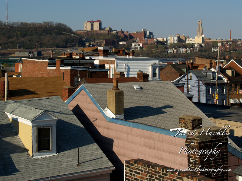 Southside rooftops with Cathedral of Learning in background