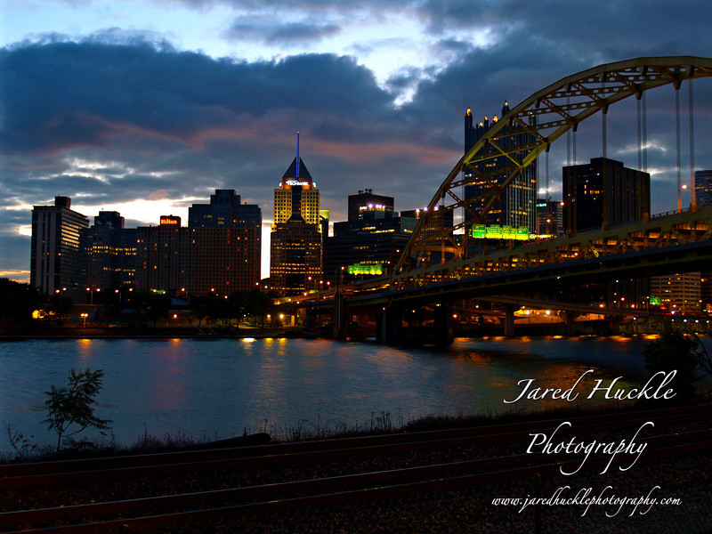Downtown and Ft Pitt Bridge at sunrise, Pittsburgh PA