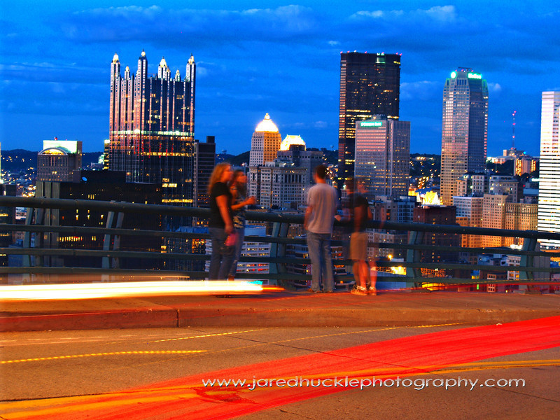 Traffic from McArdle Roadway with downtown in the background, Pittsburgh PA