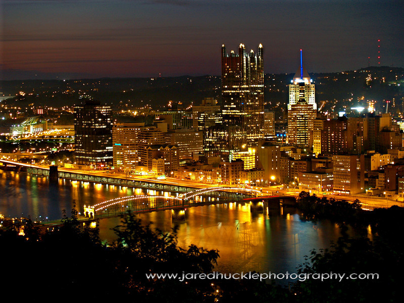 Downtown at dusk from Grandview Park, Pittsburgh PA