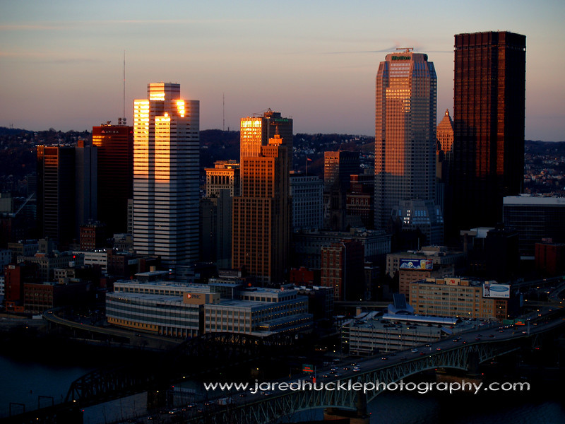 Downtown at sunset from Grandview Park, Pittsburgh PA