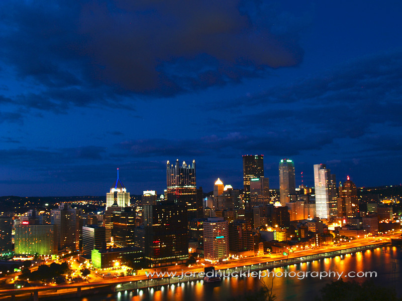 Downtown at dusk from Grandview Ave, Pittsburgh PA