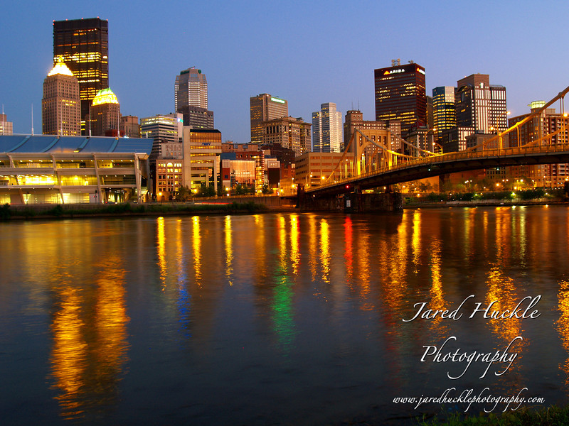 Downtown from the North Shore reflecting on the Allegheny River, Pittsburgh PA