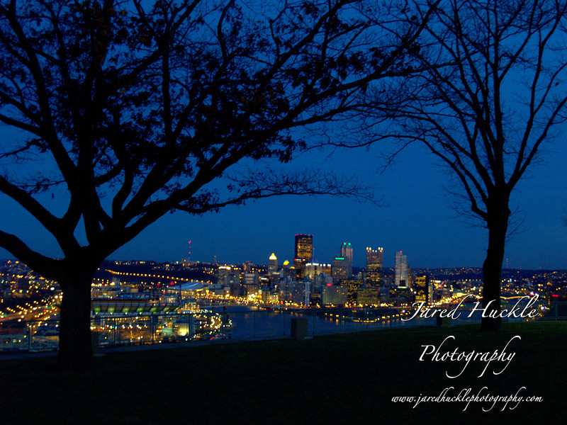 Downtown seen through trees, West End Overlook, Pittsburgh PA