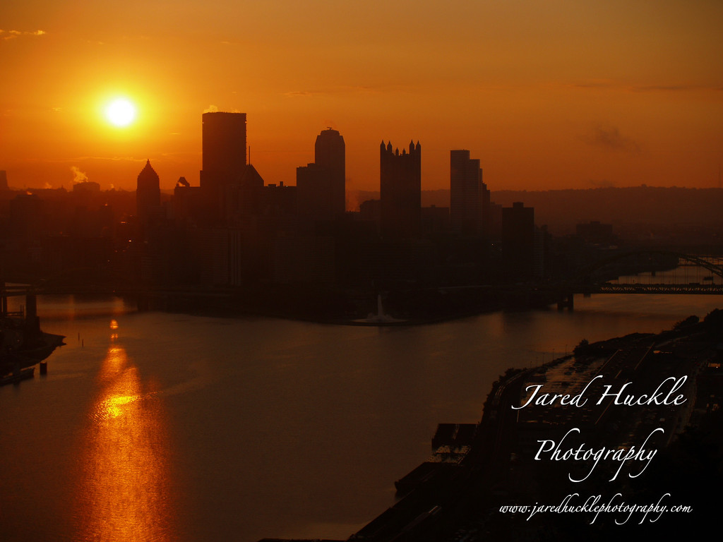 Downtown from the West End Overlook at sunrise, Pittsburgh PA