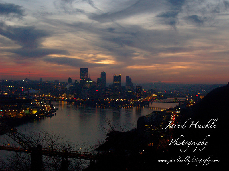 Downtown at dawn from the West End Overlook, Pittsburgh PA
