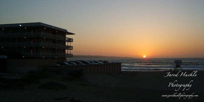 Lifeguard stand and hotel, Monterey, California