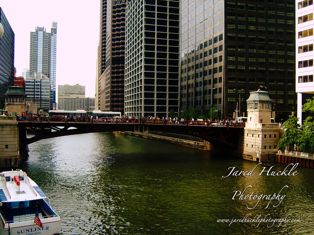 Adams St drawbridge over the Chicago River, Chicago, Illinois