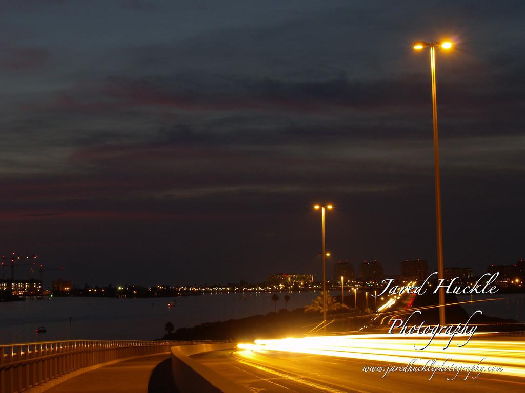 Traffic Blur on Clearwater Bridge, Clearwater, FL