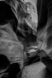 Slot Canyon, Arizona, monochrome