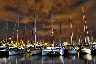 Barcelona, Marina Port Vell (view from Rambla del Mar), September 2010