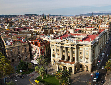 Barcelona, view from the top of Columbus Monument (Monumento á Cristóbal Colón), September 2010