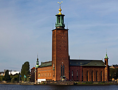 Stockholm, City hall tower with the Tre Kroner - the Stadshuset, September 2010