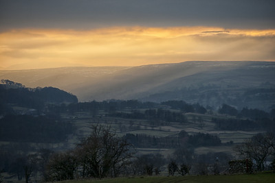 Between Leyburn and Redmire around 5:30pm late in February, traces of snow still on the hill tops