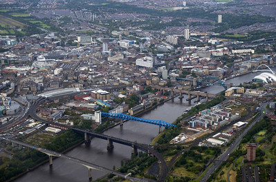The famous Newastle upon Tyne bridges from the air