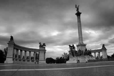 Heroes Square in Budapest taken as night approached