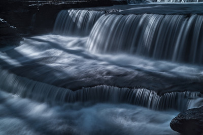 The multiple stepped cascades at Aysgarth (lower) falls in North Yorkshire