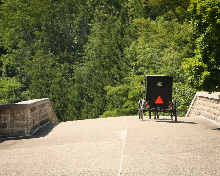 Very rare image - due to Route 40 construction, non-motorized traffic is temporarily open on the Casselman Bridge.  Here an Amish buggy makes the crossing.