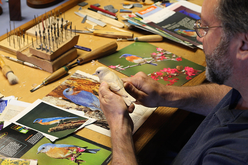 """Hi Dorothy, just mouse-over this image & a 'Save File' box will pop-up.  Click this to download the image to your computer.  OR you can view the image in the largest size & right-click to save...either will work.  Thanks.....    Bill                                         Gary Yoder, Master Bird Sculptor, working on the bluebird for the 2008 Spruce Forest Bluebird Raffle.  You can see more of Gary's work <A HREF=""""http://www.spruceforest.org/index.php?option=com_content&task=view&id=5&Itemid=4"""">here</A>."""