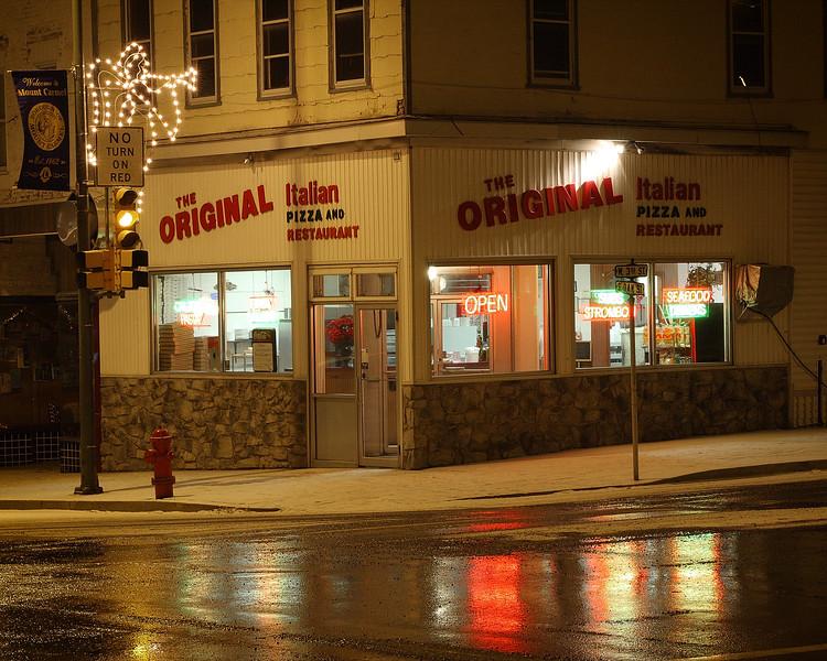 Pizza shop in the corner of 3rd & Oak street, Mt Carmel
