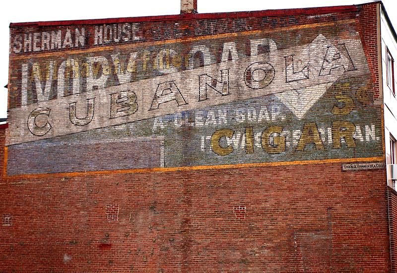 Sherman House / Ivory Soap / Cubanola painted advertisement on Oak Street