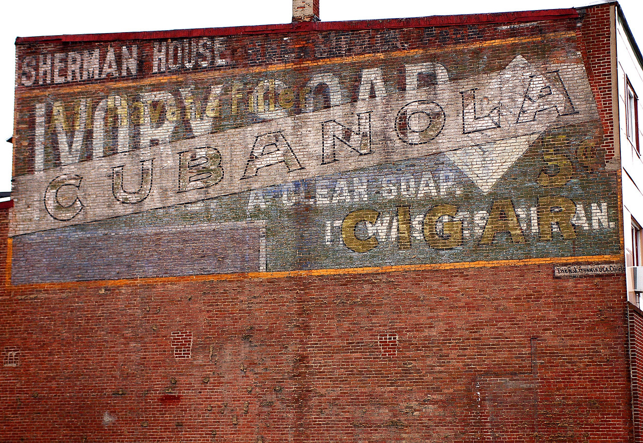 Sherman House / Ivory Soap / Cubanola painted advertisement on Oak Street