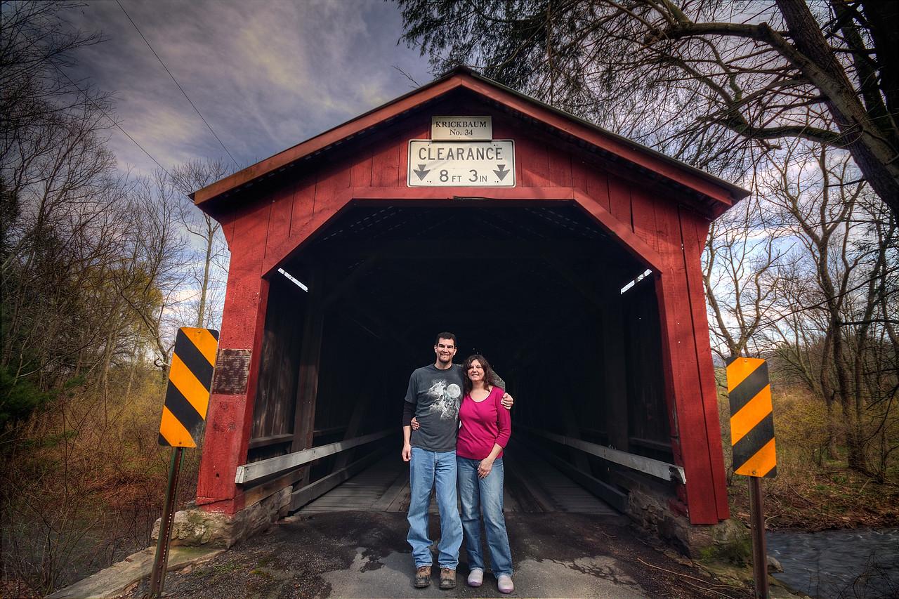 Covered Bridge hunters at Krickbaum Covered Bridge - near Elysburg, Pa