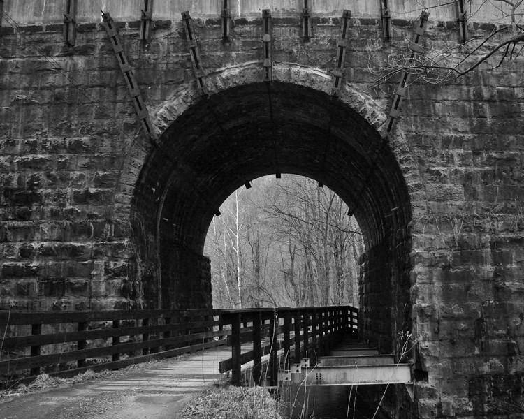 The Amblersburg Viaduct provides a railroad crossing over Salt Lick Creek