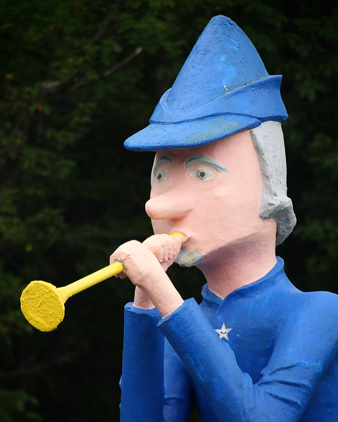 This 18-ft. tall Pied Piper statue stands on the edge the Lincoln Highway outside Schellsburg, Pennsylvania marking the entrance to Storyland (a privately-run fairy tale park that closed in the 1980's).