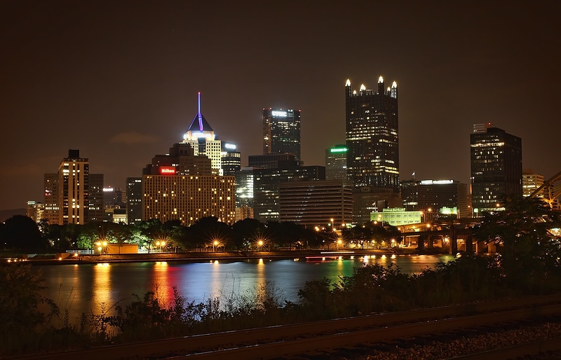 Downtown Pittsburgh skyline at night