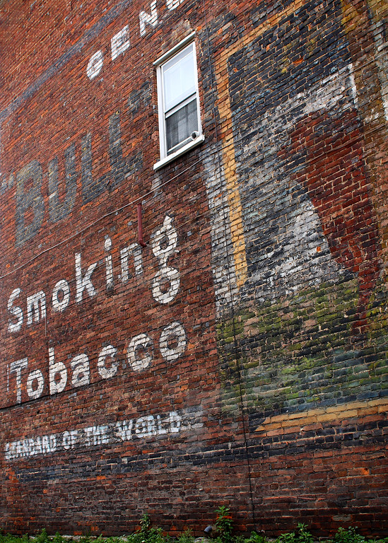 Bull Durham tobacco painted ad in Bedford, Pennsylvania.